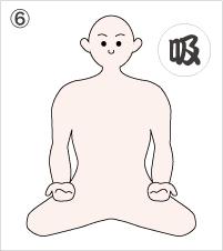 6.ねじった手を戻しながら、鼻で息を吸う